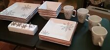 TY PENNINGTON STYLE 16 piece Snowflake Christmas DISCONTINUED SEARS DISH SET