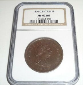 1806 Great Britain 1P Large Penny Coin graded NGC MS 62 BN George III Britannia!