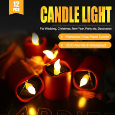 6PCS Solar Powered LED Candle Flameless Flickering Solar LED Tea Lights Lamp