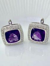 Olivia Amethyst & Diamond Cushion Earrings in St. Silver  Lot #12 Bel