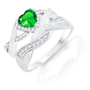 Green Emerald Heart Infinity Celtic White Opal w CZ Engagement Silver Ring Set