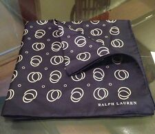 Ralph Lauren Purple Label 100% Silk Handkerchief Navy Blue Made In Italy New