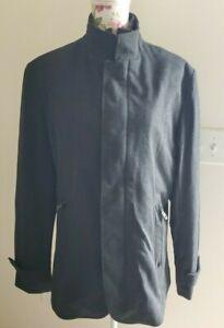 Zara Man Mens Sz L Dark Gray Black Mock Neck Double Zipper Winter Pea Coat