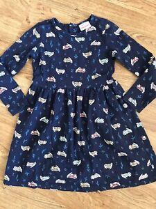 Hanna Andersson Girl's All Over Bunny Print Dress 120  6-7