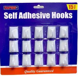 Self Adhesive Hooks White Plastic Strong Sticky Stick on Wall Door Hang - 15 Pcs