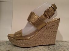 Michael Kors Posey Wedge Sandals Espadrille Platform Leather Pale Gold 10 M New