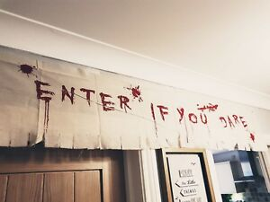 1.8m Halloween Bloody Cloth Enter If You Dare Wall Rags Window Decoration Prop