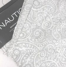 "Nautica  Paisley Window panels panel set Drapes Gray White Cotton rod pocket 96"""