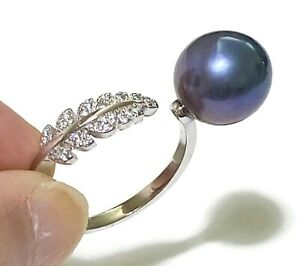 Gorgeous Black Purple Blue Round Edison 10-10.5mm Cultured Pearl Ring Size 8 - 9