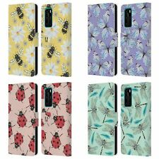HEAD CASE WATERCOLOUR INSECTS LEATHER BOOK CASE & WALLPAPER FOR HUAWEI PHONES