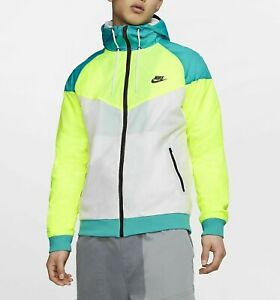 Nike Heritage Amplify Windrunner Jacket White Volt Green CW2312-716 Mens Small S