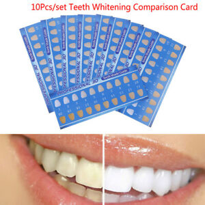 10Pcs Rectanglea Cold Light Teeth Whitening Color Palette Paper Shade Guide C BA