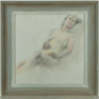 Framed 20th Century Pastel - Reclining Female Nude