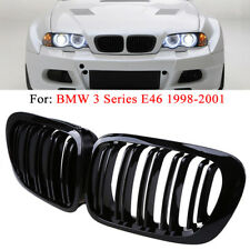 For 98-01 BMW E46 2 Door 2D Coupe Gloss Black Dual Slat Kidney Grille Grill