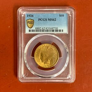 1926 US Gold $10 Indian Head Eagle - PCGS MS62