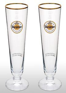 2 x German Imported Warsteiner Pilsner Glasses 0.4l