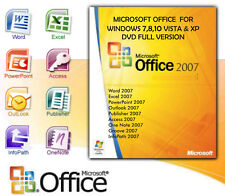 MICROSOFT OFFICE 2007 FOR WINDOWS 10,8, 7,VISTA & XP FULL VERSION 3 PC'S Install
