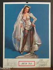 Elvgren Calendar Page June 1953 Sexy Bride Satin Dress Black Hose Blue Garter