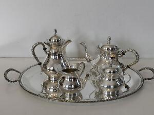 Enrico Goretta servizio da caffè tè vassoio argento 800 massiccio antico inglese