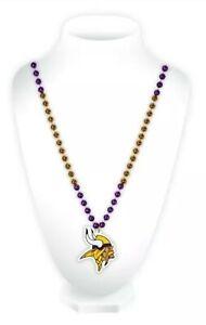 NFL Minnesota Vikings Mardi Gras Beads With Medallion Necklace