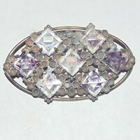 Vintage circa 1930s square cut glass rhinestone unusual oval pin brooch
