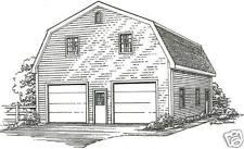30 x 40 2 Stall Gambrel Garage Building Blueprint Plans w/Lft