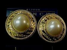 Vintage Givenchy BOLD & BEAUTIFUL Gold & Pearl Round Clips-Signed-Never Used