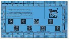 "VST Blue Plastic PERFORATION GAUGE Australian Watermarks RULER GUIDE 2"" & 50mm"