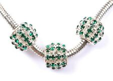 2PCS green  crystal silver European big hole charm beads 12MM SH1162