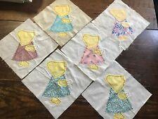 """Lot of 6 Sunbonnet Sue Applique 10"""" Quilt Craft Blocks Vintage 1940's Flocked!"""