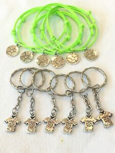 FOOTBALL friendship bracelets & keyrings  X12 Pieces Party Bag Fillers, Tombola