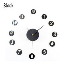 Mirror Surface Wall Clock 3d Acrylic Sticker Office Home Living Room Decor Black