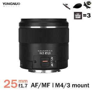 Yongnuo YN25mm F1.7M AF MF Lens Micro 4/3 Mount for M43 Olympus Panasonic Camera