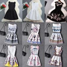 Damen Sommer Kleid Ärmellos Skaterkleid Tunika Minikleid Abendkleid Partykleid