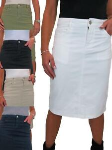 ICE Womens Stretch Jeans Skirt Casual Below Knee Colour Pencil Skirt 10-20