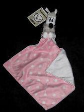 Doudou Chien Blanc Noir Idéfix et son mouchoir carré rose à pois Parc Astérix