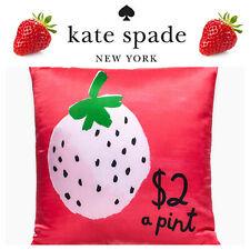 🆕KATE SPADE Throw Pillow RED Strawberry SILK/Cotton 20X20 Feather CHRISTMAS