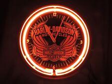 Harley Davidson Motor Cycles Winged Red Neon Wall Clock