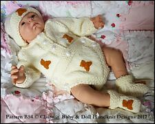"BABYDOLL HANDKNIT DESIGNS KNITTING PATTERN BUTTONED ROMPER 10-22"" DOLL/BABY"