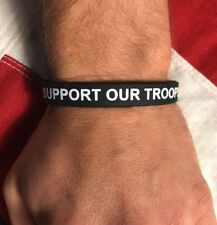 """""""Support Our Troops"""" Wristband Bracelet Black Silicone USA Veterans Patriotic"""
