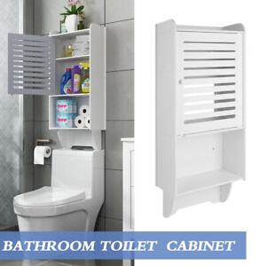 Over Toilet Cabinet Wall Hung Cupboard Storage Organizer Bathroom Shelf Rack