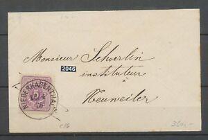 1875 Enveloppe à 5 pfenig Rose Obl CAD NIEDERHAGENTHAL Alsace lorraine X3109