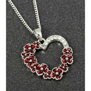 Equilibrium Silver Plated Red Poppy Diamante Heart Necklace Jewellery 299460