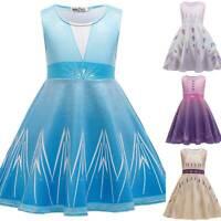 Eiskönigin Kleid Kinder Mädchen Frozen Elsa Prinzessin Kleider Kostüm Karneval