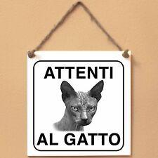 Don Sphynx 4 Attenti al gatto Targa gatto cartello ceramic tiles