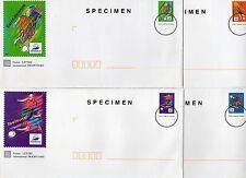 FRANCE 4 PRET A POSTER différents Carte + Enveloppe SPECIMEN Football 1998
