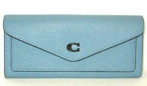 Coach C2326 Azure Blue Cross Grain Leather Soft Envelope Wallet NWT $150