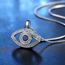 ZARD Blue CZ Evil Eye Protection Pendant Sterling Silver Plate Necklace