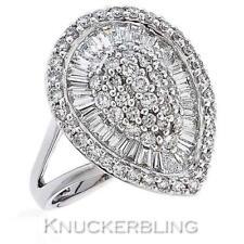 Diamond Pear Cluster Ring 2ct Baguette & Brilliant Cut F VS in 18ct White Gold