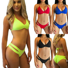 Minivestido feminino moda verão sexy Conjunto de biquíni beachwear cor sólida Triângulo Maiô